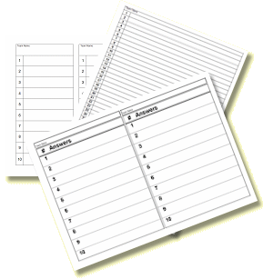 Printable Answer Sheets